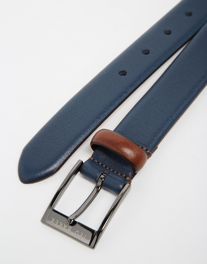76aee8ab7a69 Lyst - Ted Baker Leather Belt in Blue for Men