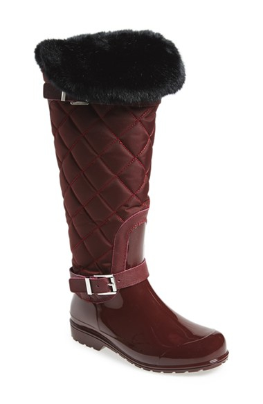 Michael michael kors 'fulton' Quilted Rain Boot in Red | Lyst