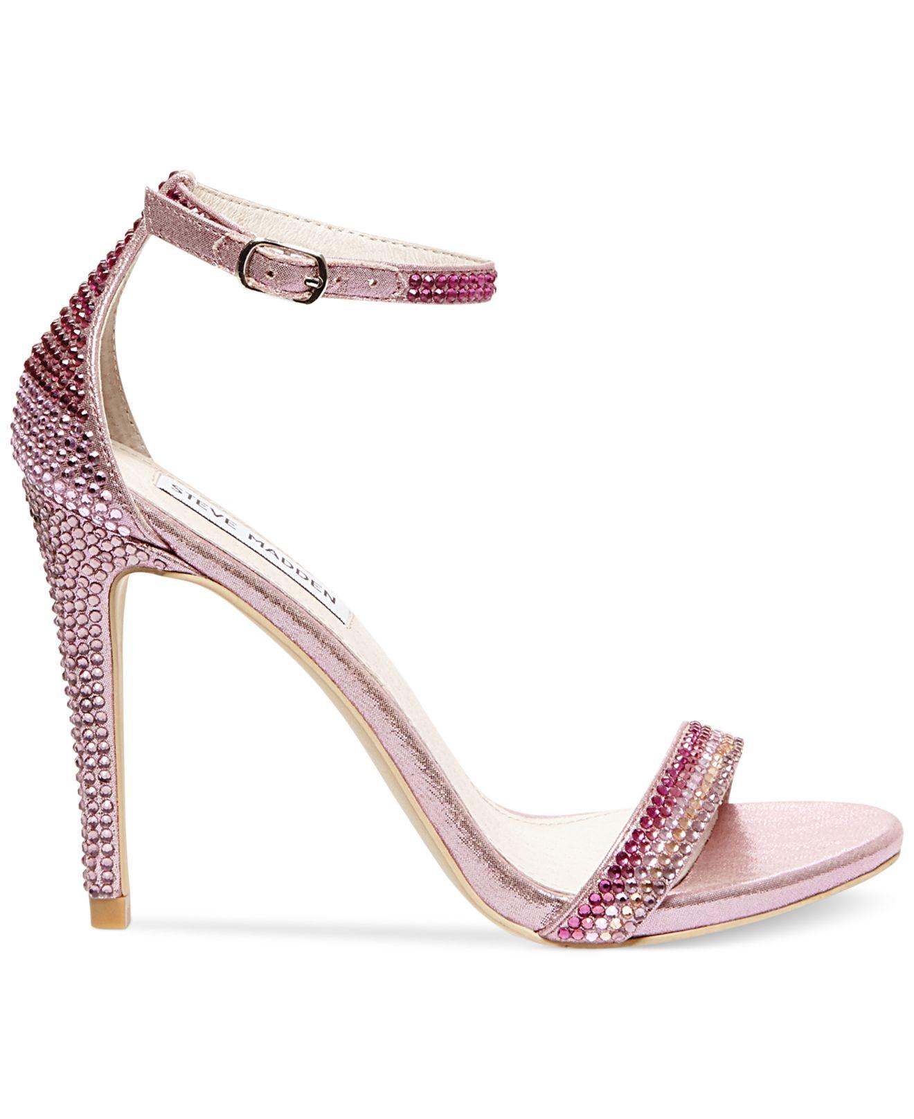 8d3eceab1 Steve Madden Women's Stecy Rhinestone Two-piece Sandals in Pink - Lyst