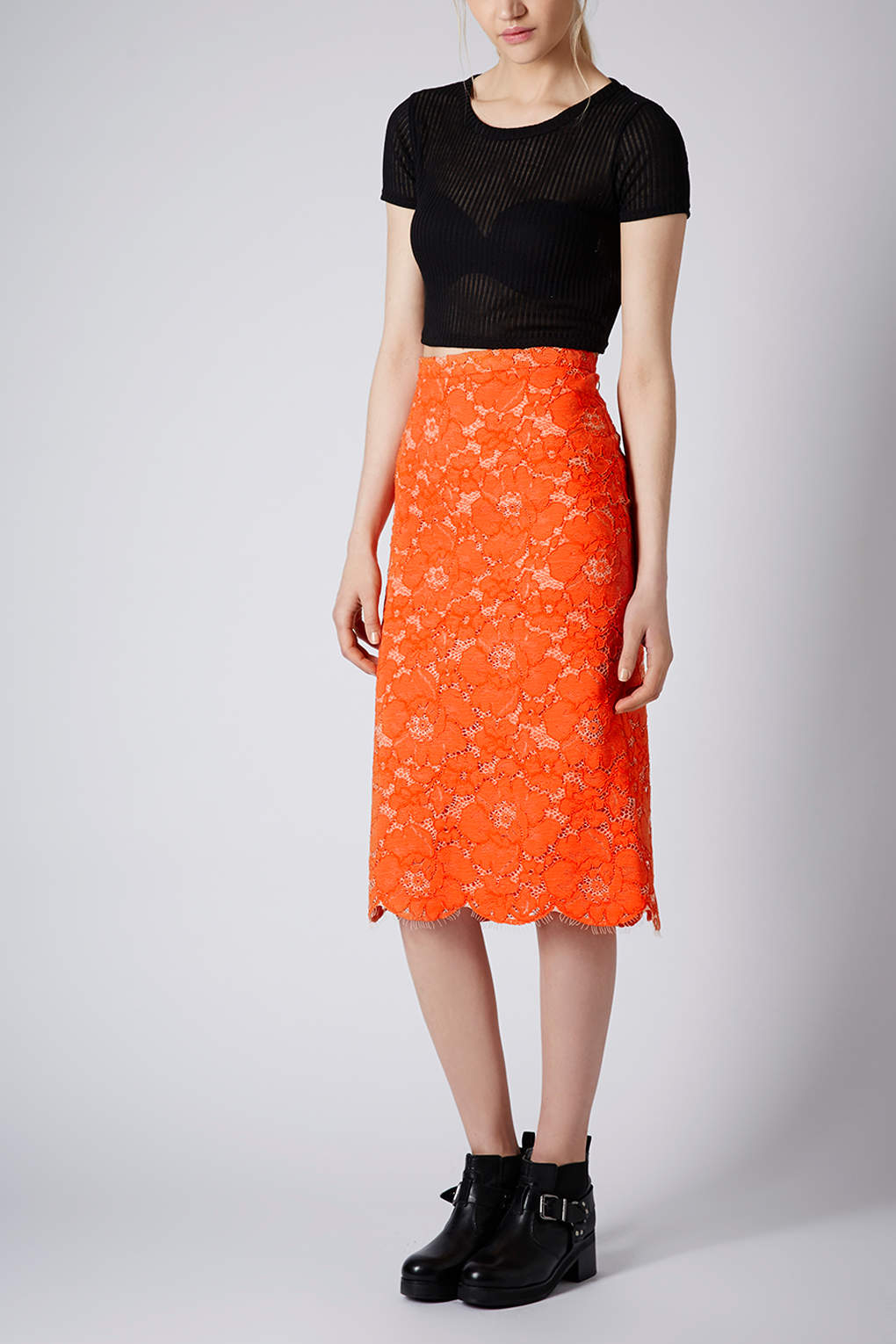 Topshop Cord Lace Pencil Skirt in Orange | Lyst