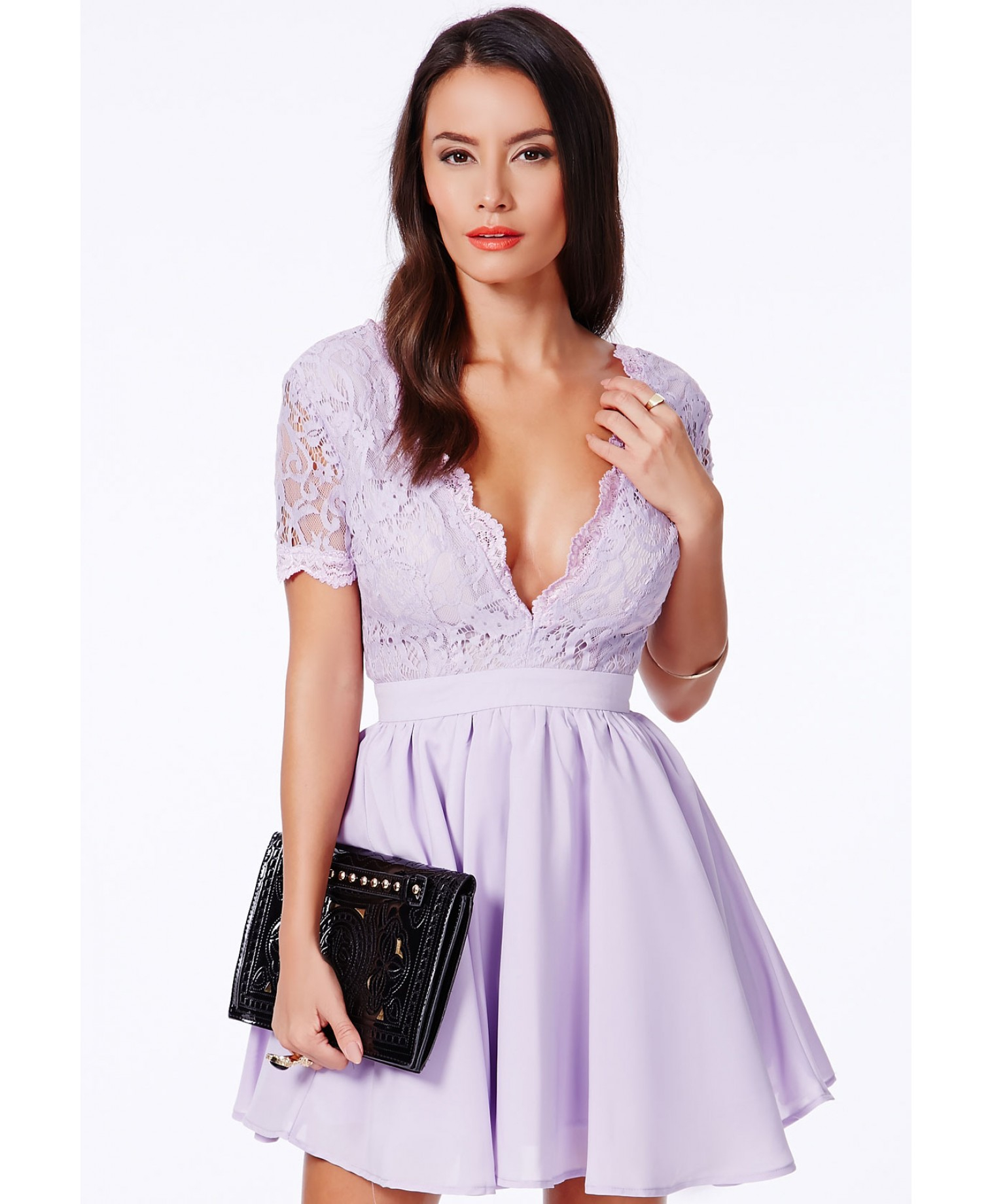 387bb9a109c26 Missguided Aleena Eyelash Lace Plunge Neck Puffball Mini Dress In ...