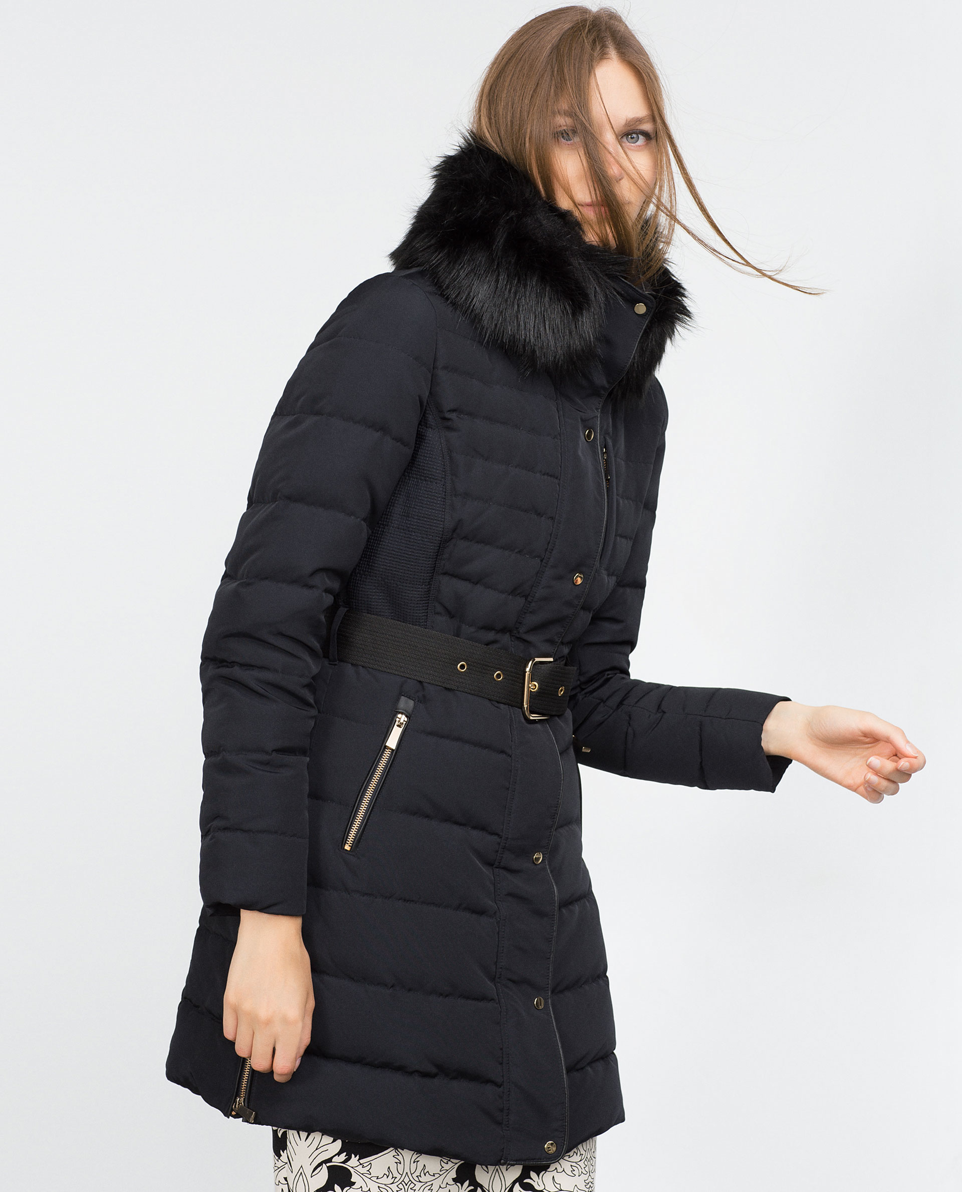 Zara Quilted Feather Coat in Blue | Lyst