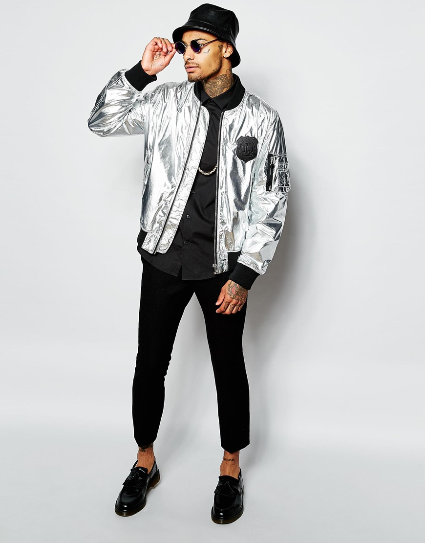 Love moschino Bomber Jacket in Metallic for Men | Lyst