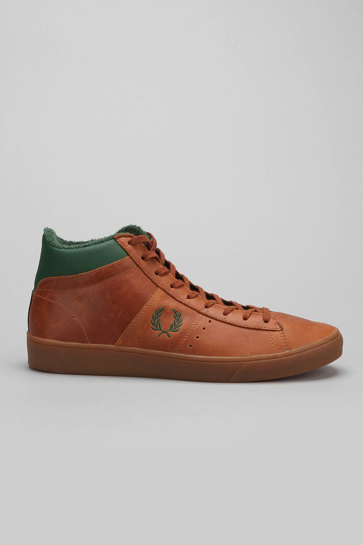 fred perry spencer mid top leather sneaker in brown for. Black Bedroom Furniture Sets. Home Design Ideas