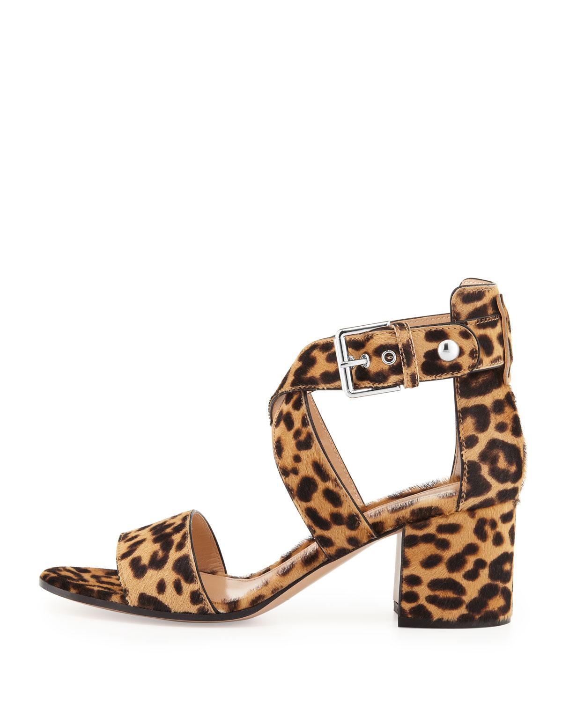 5c3c6b124e2 Lyst - Gianvito Rossi Leopard-Print Calf Hair Low-Heel Sandal