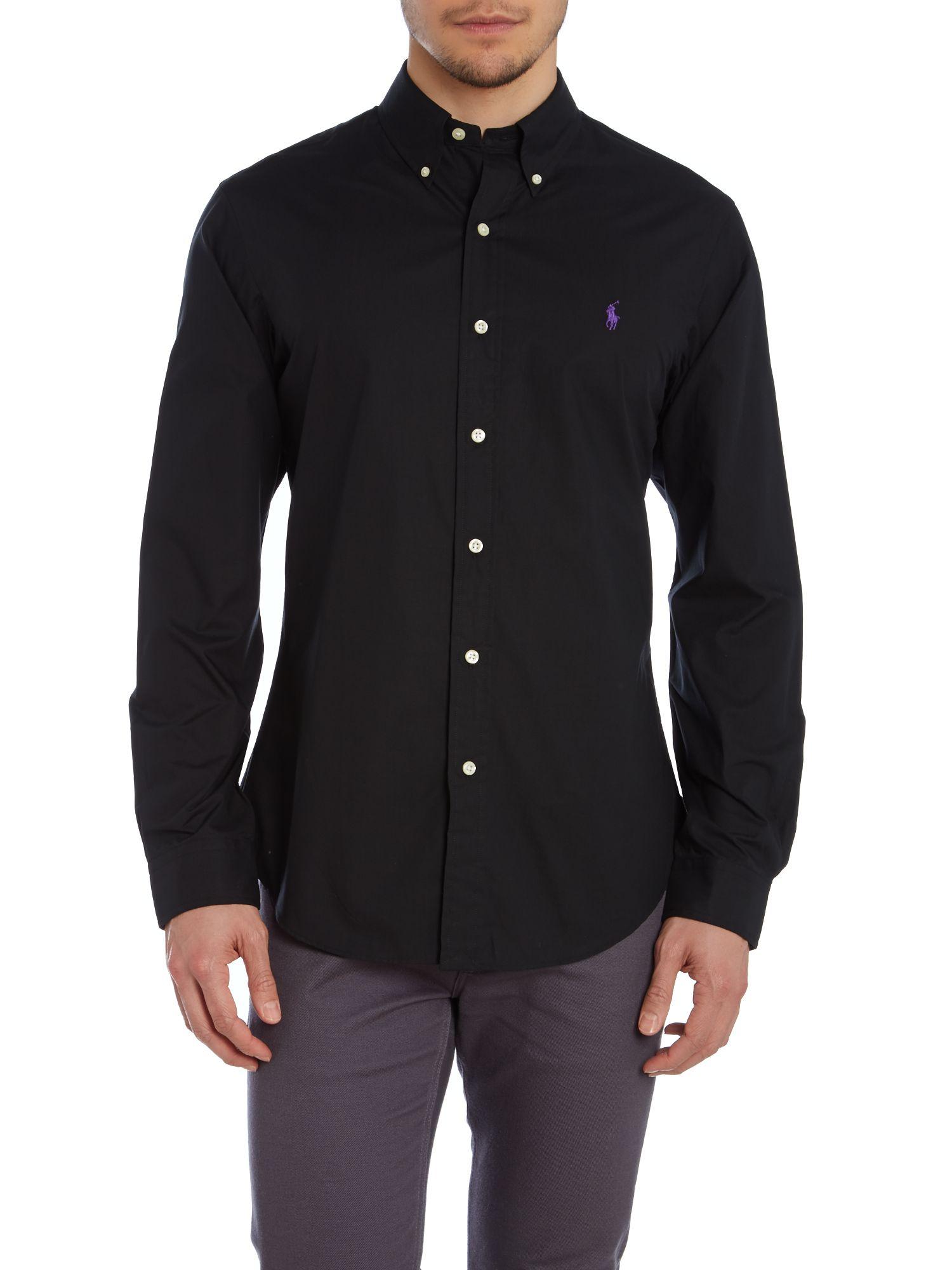 Polo ralph lauren Plain Slim Fit Long Sleeve Shirt in Black for ...
