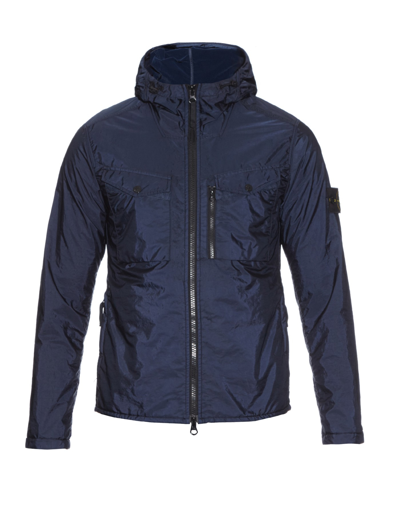 Stone Island Hooded Zip Fastening Nylon Jacket In Blue For