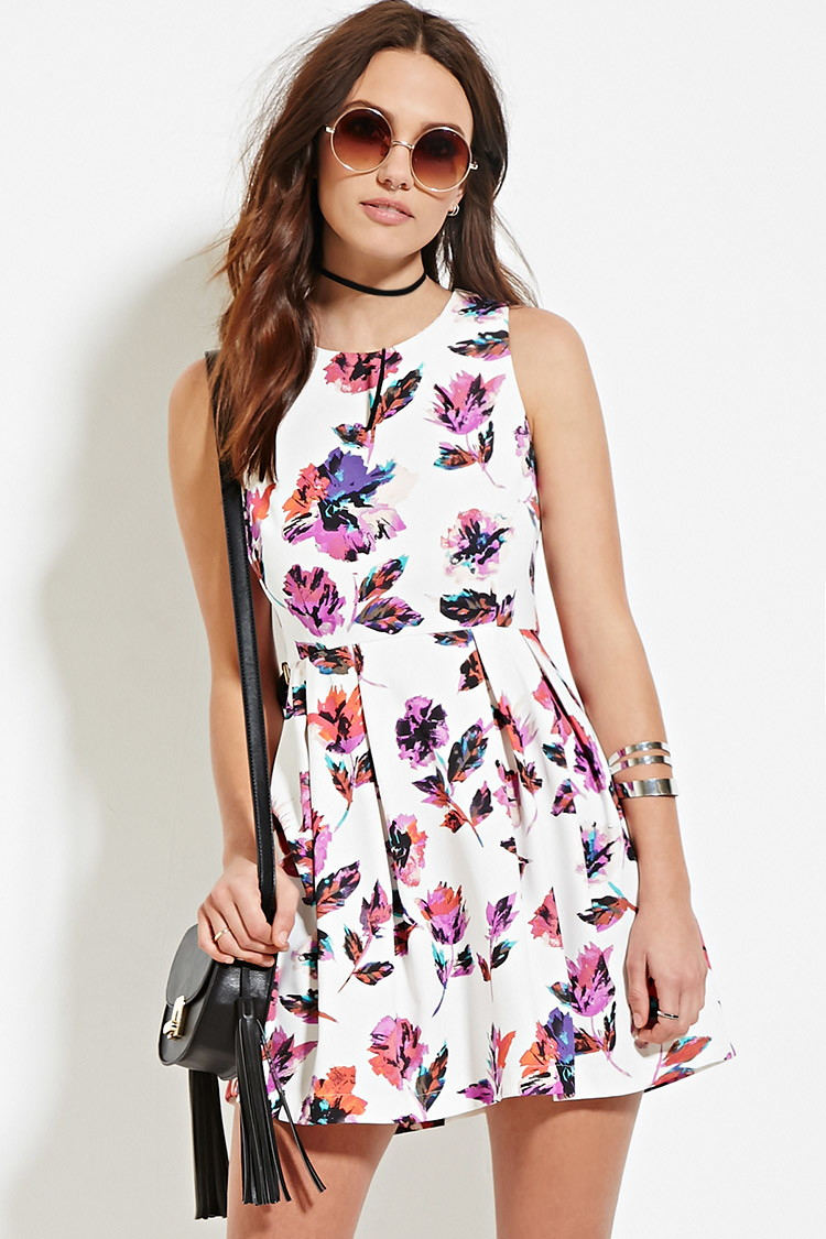 forever 21 floral fit amp flare dress in white lyst