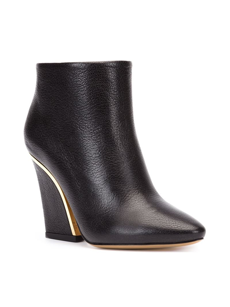 Chlo 233 Beckie Leather Ankle Boots In Black Lyst