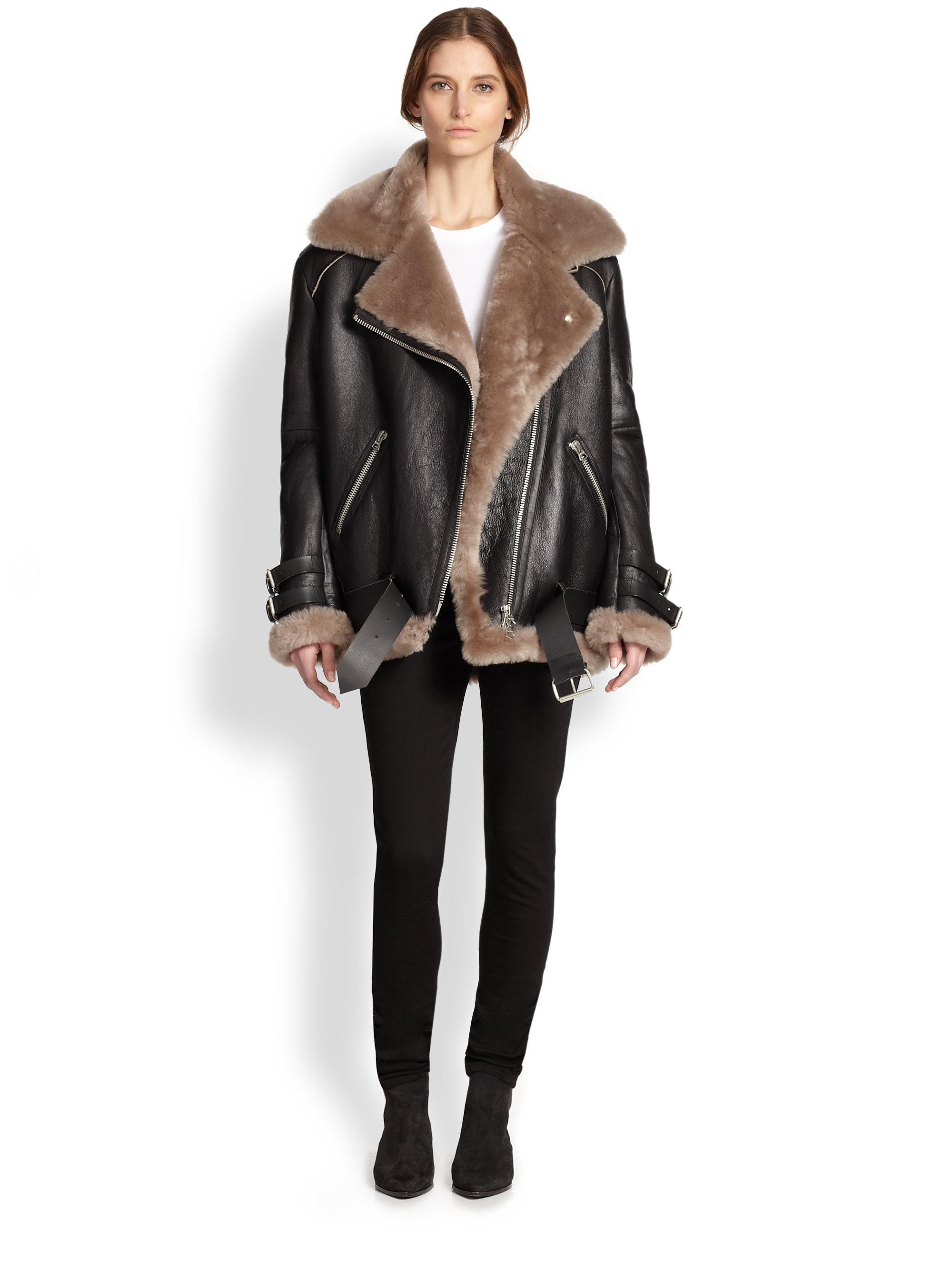 c8aa436f8ea40 Acne Studios Velocite Oversized Leather & Lamb Shearling Moto Jacket ...