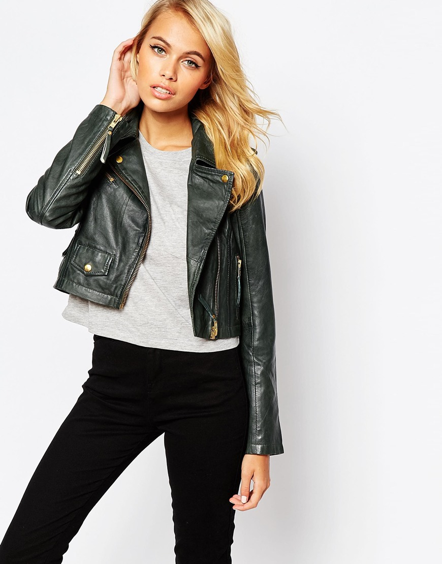 Barneys originals Bruto Cropped Leather Jacket in Green | Lyst