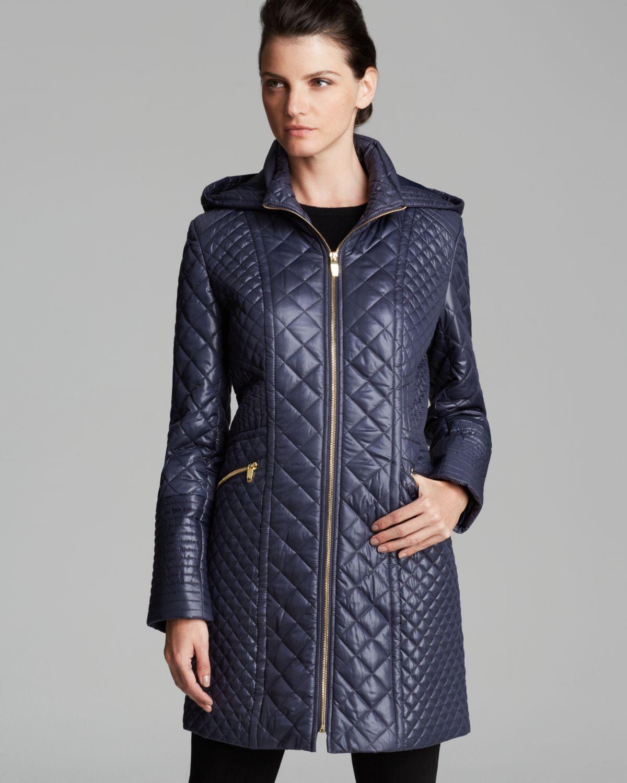 Lyst Via Spiga Quilted Coat Zip Front Hooded In Blue