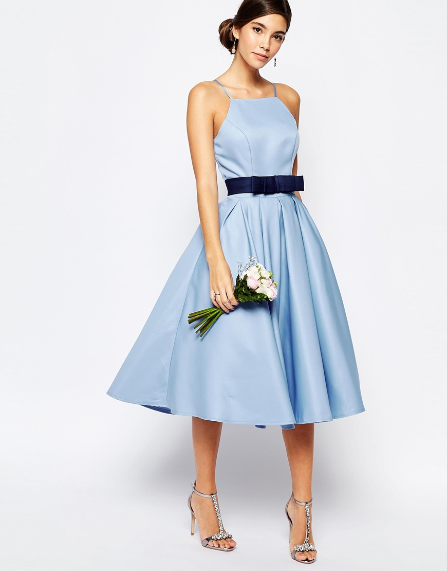 Chi chi london High Neck Midi Prom Dress With Full Skirt in Blue ...
