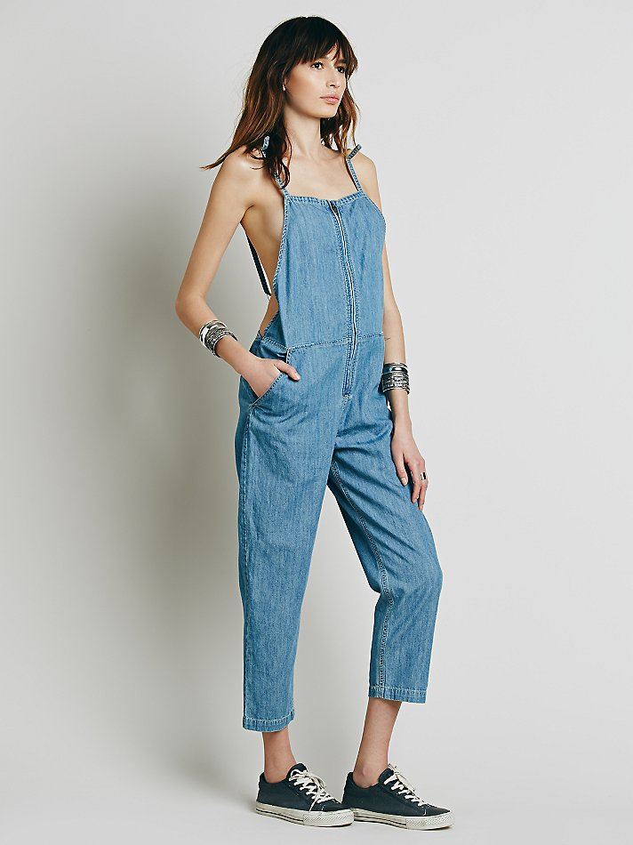 8f4d3c4b633 Lyst - Free People Shapeless Chambray One Piece in Blue