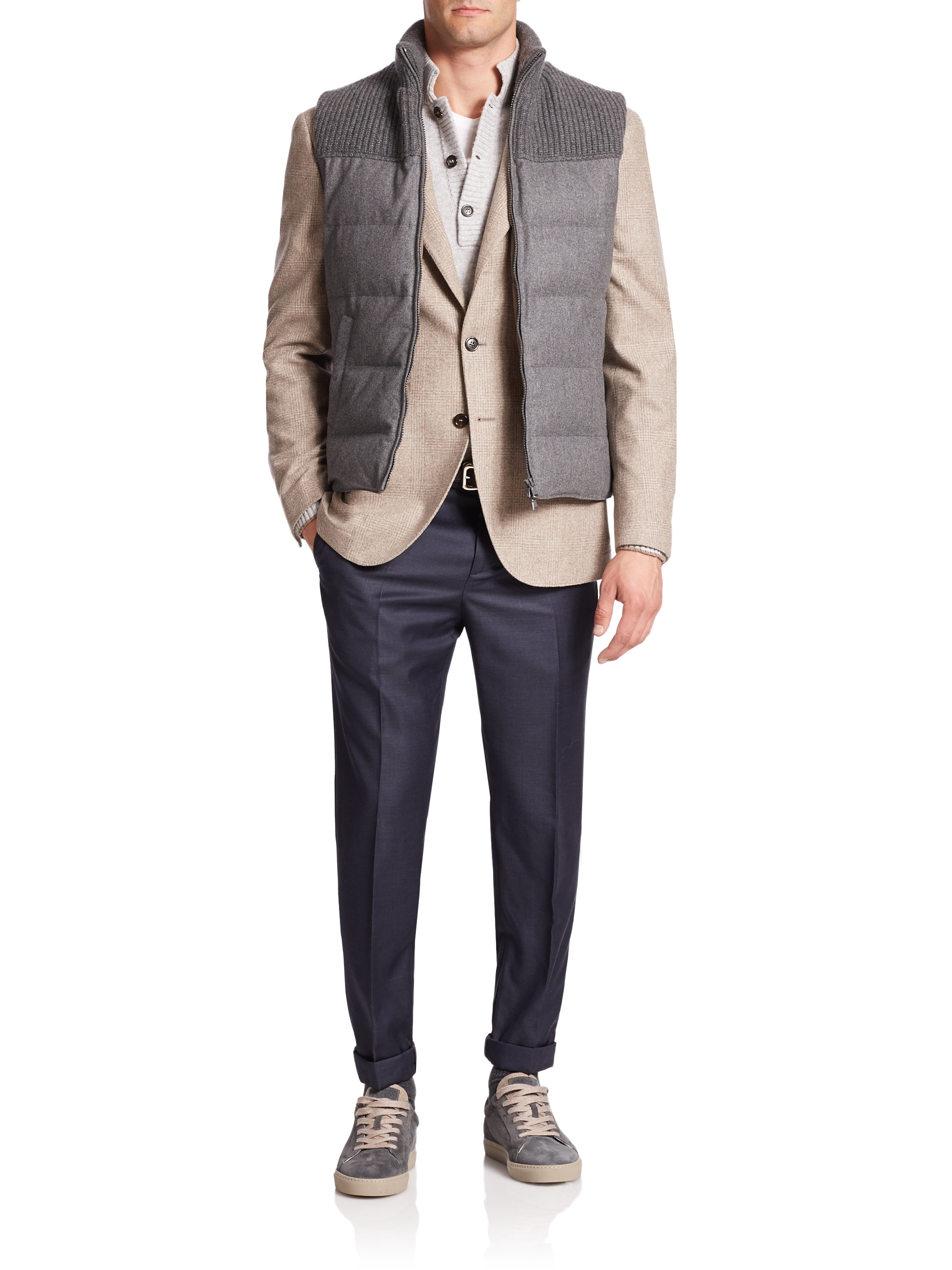 Lyst Brunello Cucinelli Flannel Puffer Vest In Gray For Men