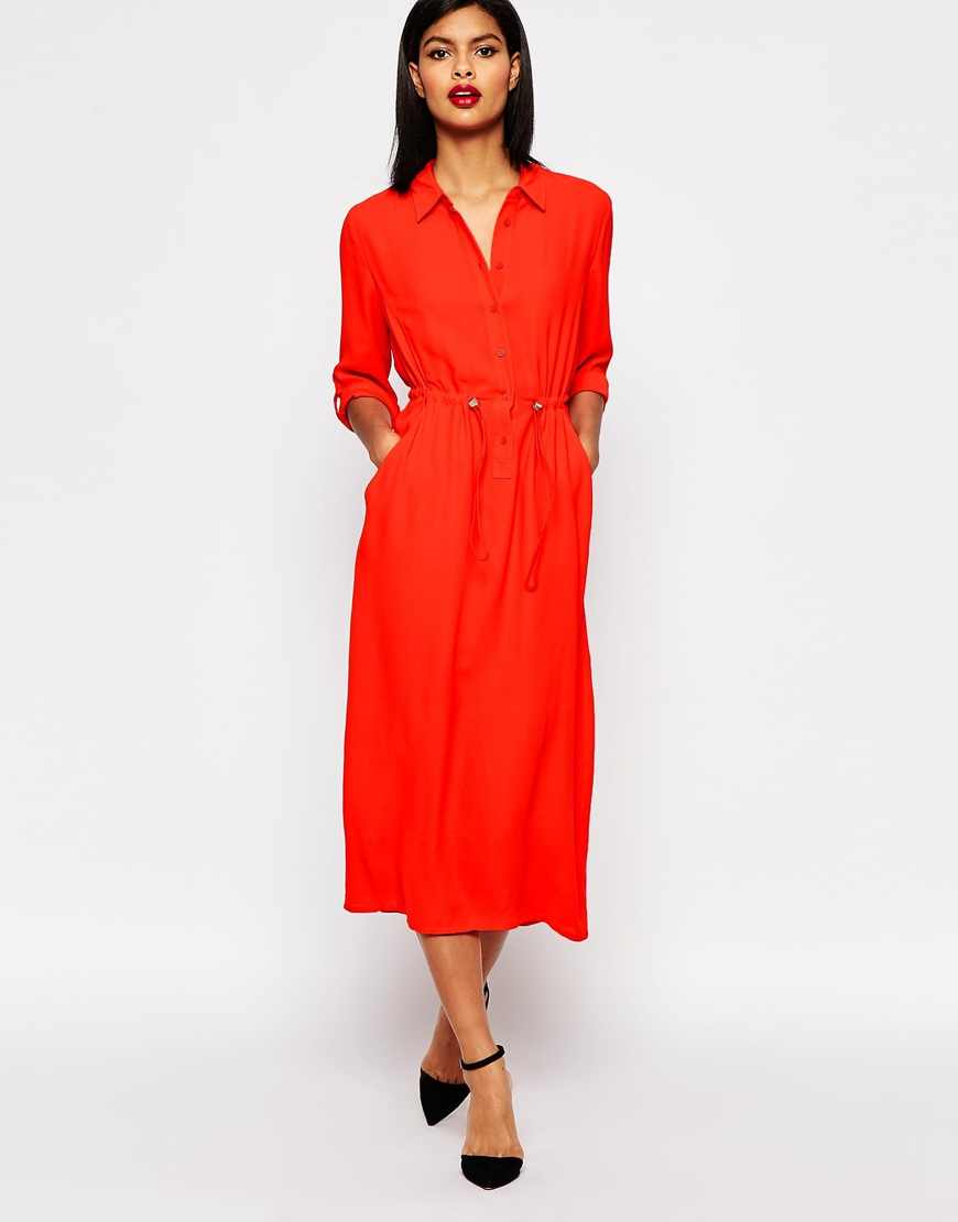 Red Shirt Dress - Dress Xy