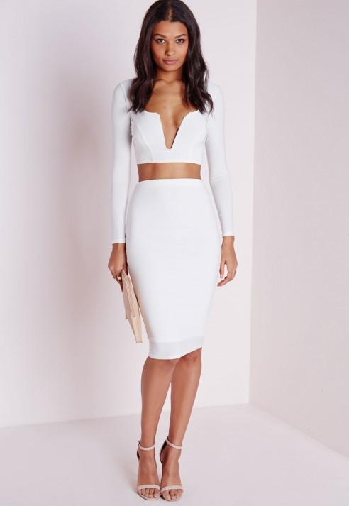 missguided slinky bodycon midi skirt white in white lyst