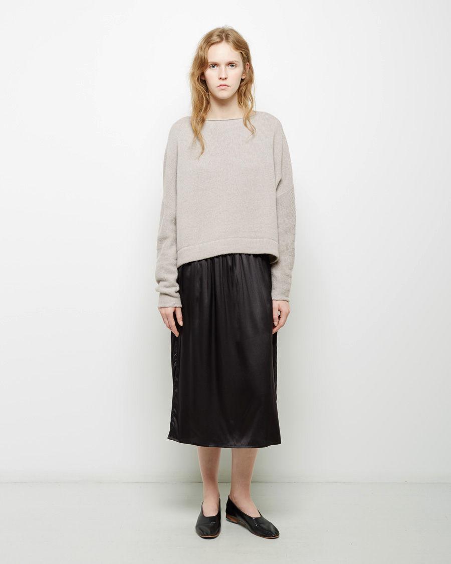 Baserange Satin Slip Skirt In Black