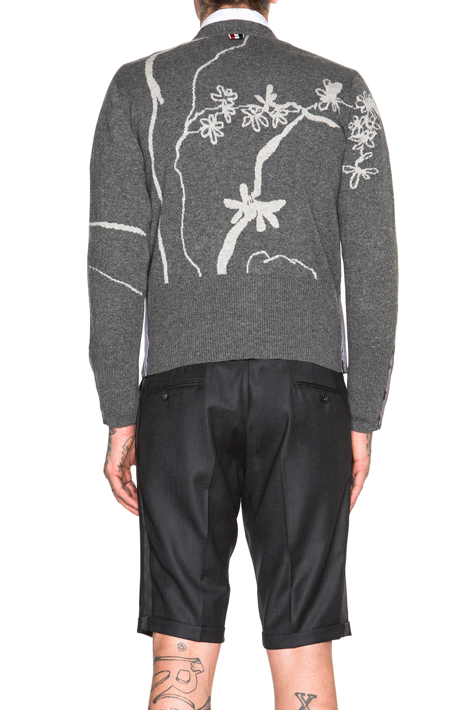 Thom Browne Japanese Floral Intarsia Cashmere Cardigan In