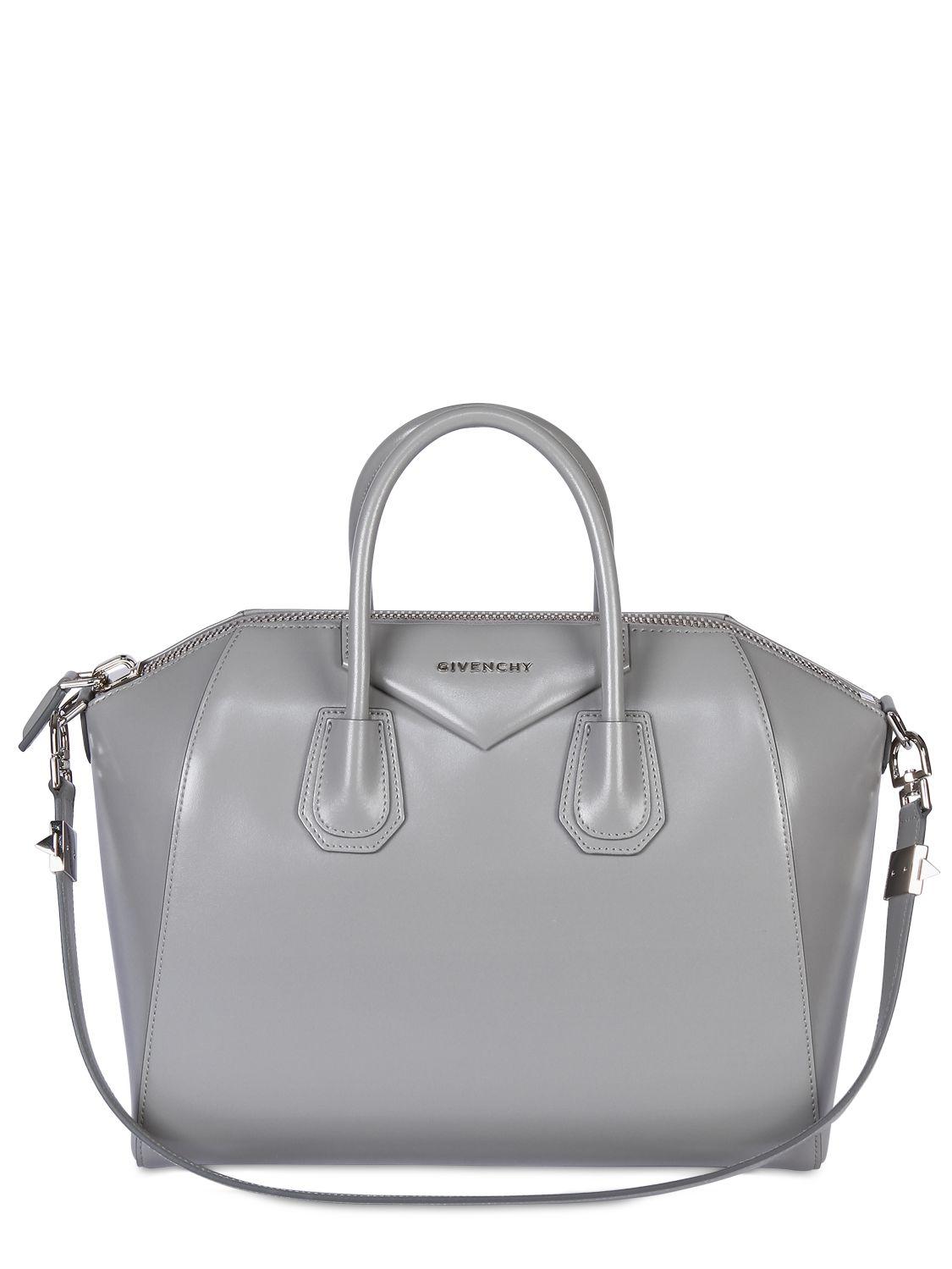 e9f3630387a3 Lyst - Givenchy Medium Antigona Shiny Smooth Leather Bag in Gray