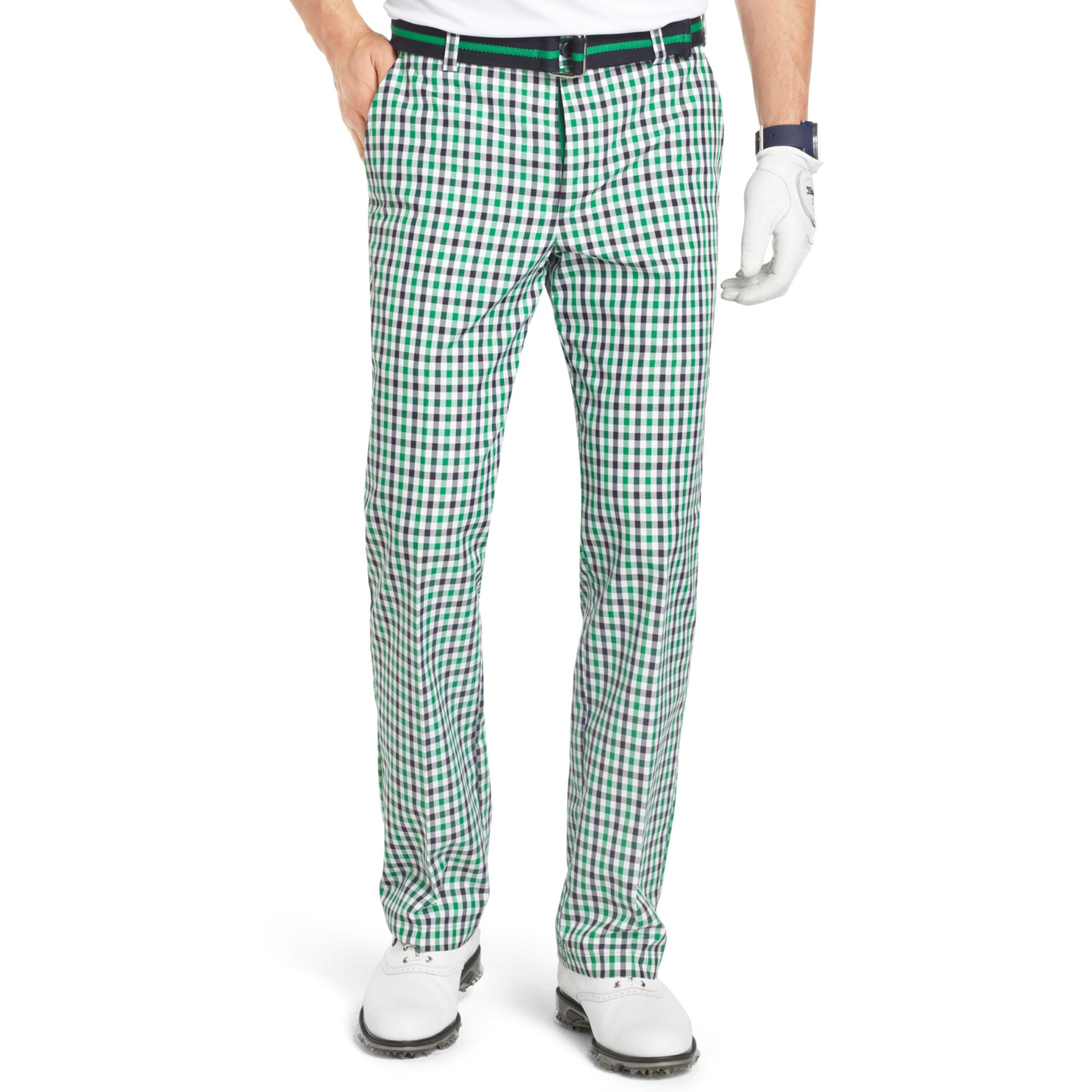 Izod Flat Front Gingham Check Performance Golf Pants in Green for ...