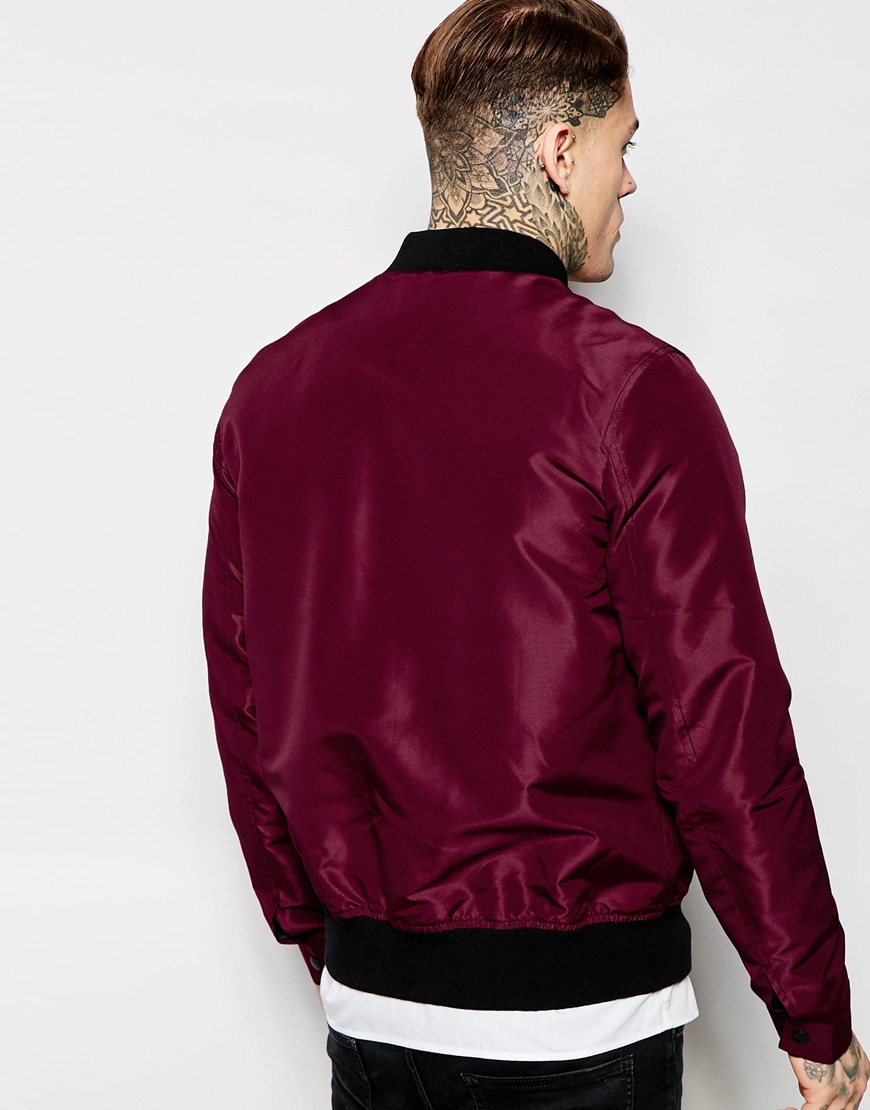 Asos Bomber Jacket With Poppers In Burgundy in Purple for Men | Lyst