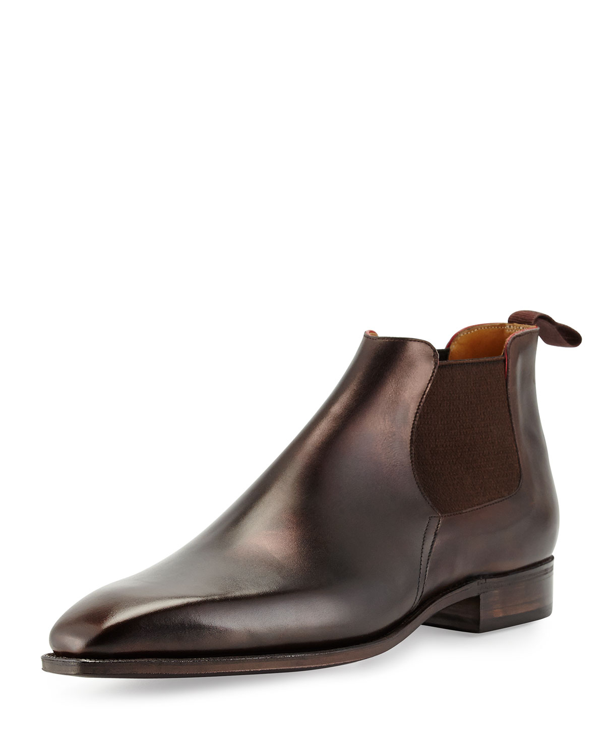 corthay dress leather chelsea boot in brown for