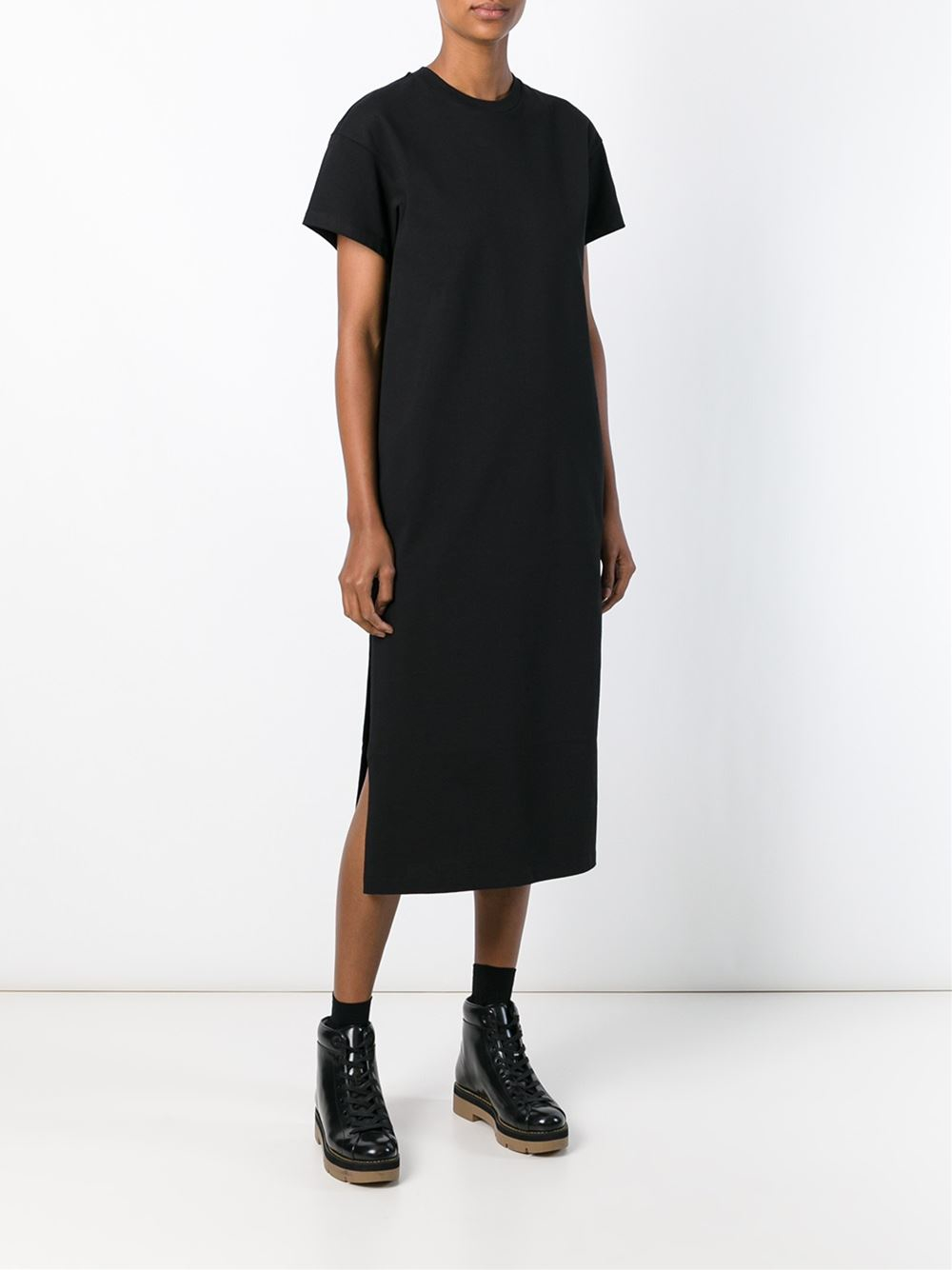 Lyst t by alexander wang midi t shirt dress in black for Midi shirt dress black