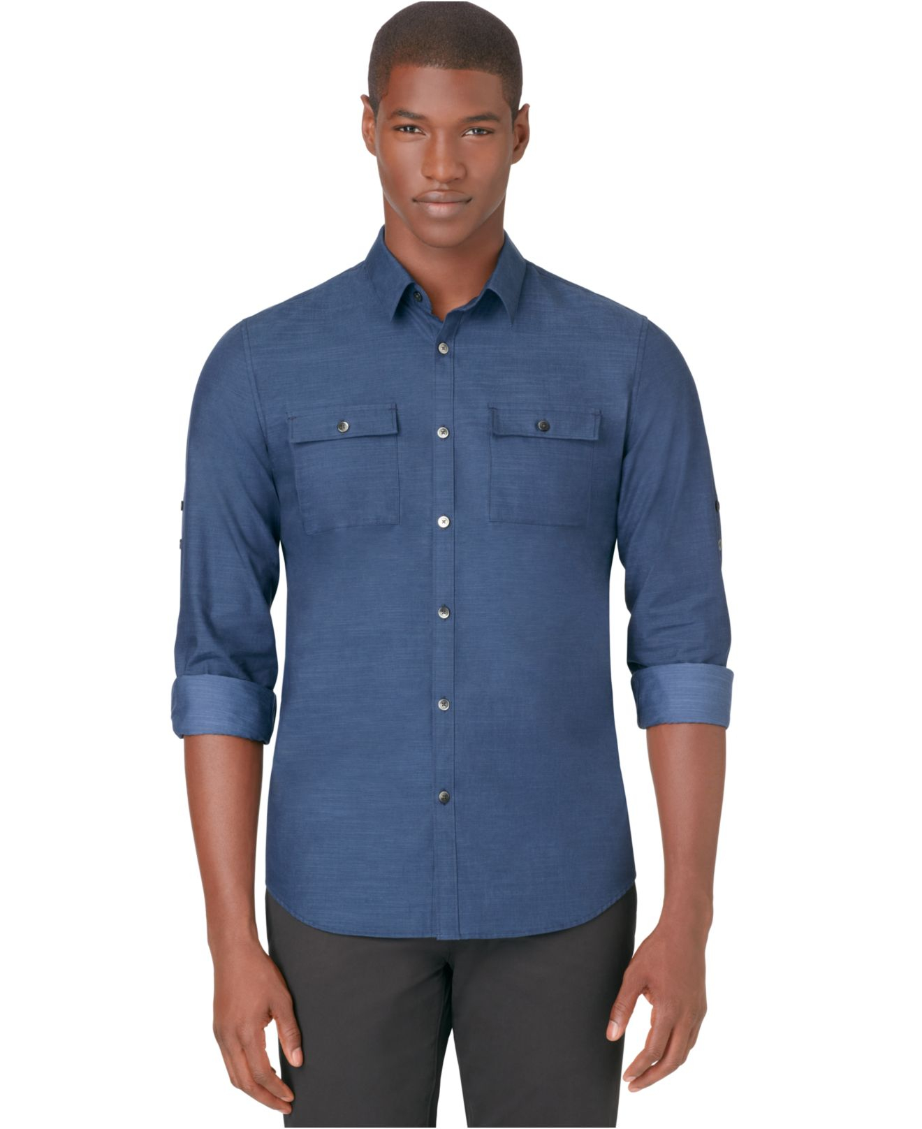 Lyst calvin klein roll tab sleeve slim fit shirt in blue for Men s roll tab sleeve shirts