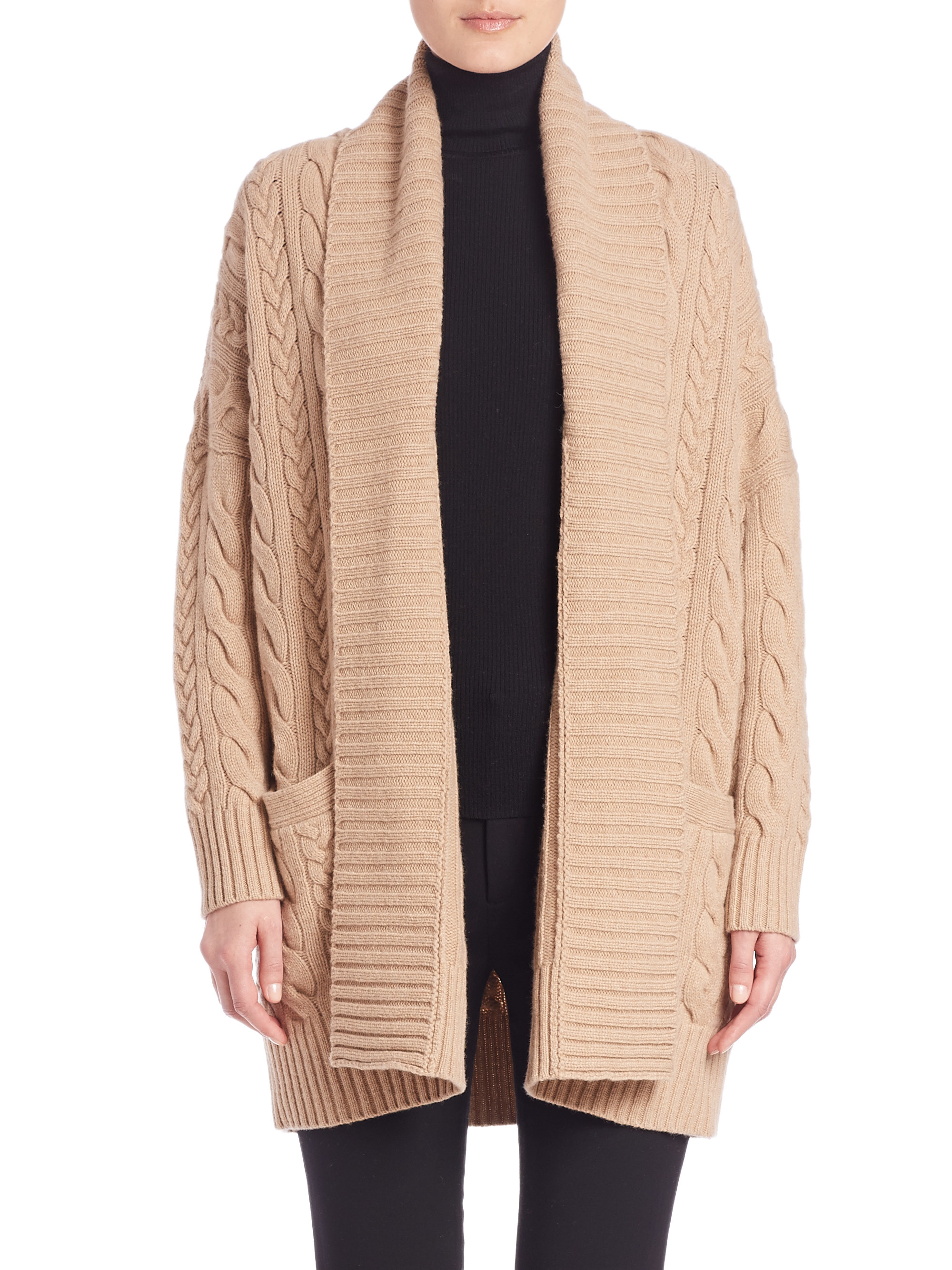 Polo ralph lauren Wool & Cashmere Cabled Cardigan in Natural | Lyst