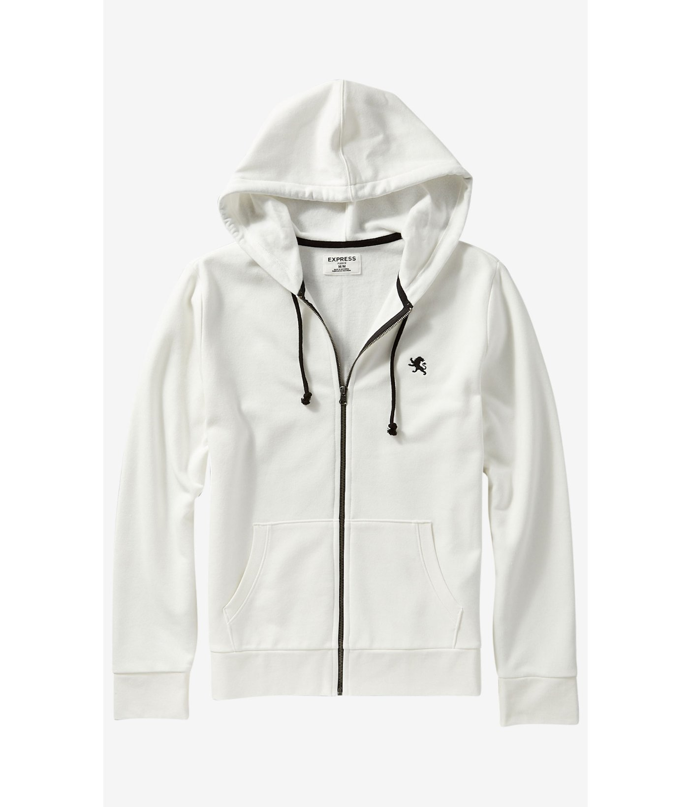 Express Fleece Small Lion Zip-up Hoodie in White for Men | Lyst