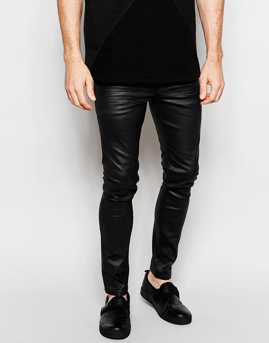 Dark future Super Skinny Jeans In Black With Resin Coating in