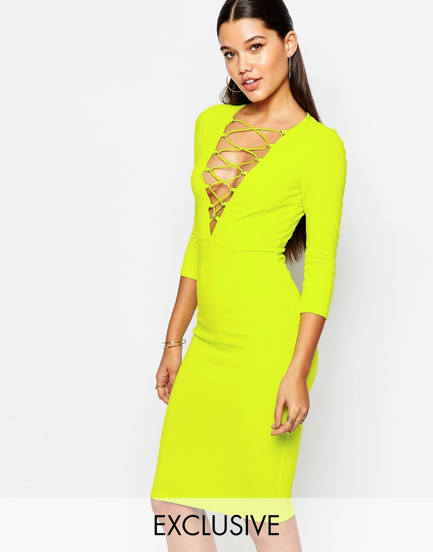 Lyst - Naanaa Lace Up Front Midi Bodycon Dress With 3 4 Sleeve in Yellow a89df0ecd9