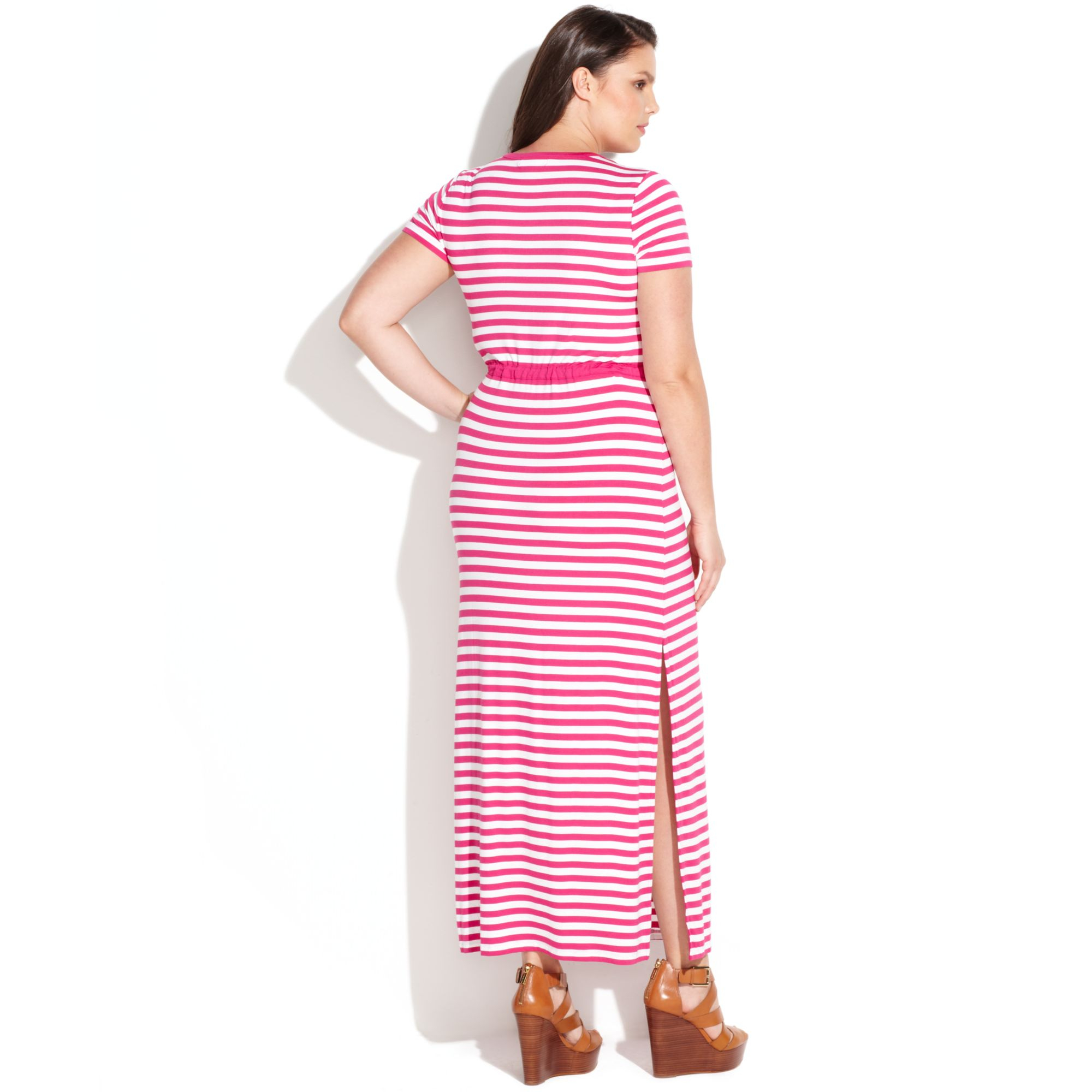 7f4d226dff5 Lyst - Michael Kors Plus Size Short Sleeve Striped Maxi Dress in White
