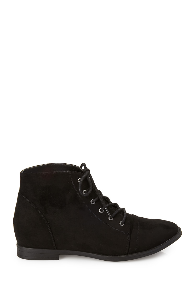7a21348f133 Lyst - Forever 21 Faux Suede Lace-Up Booties in Black