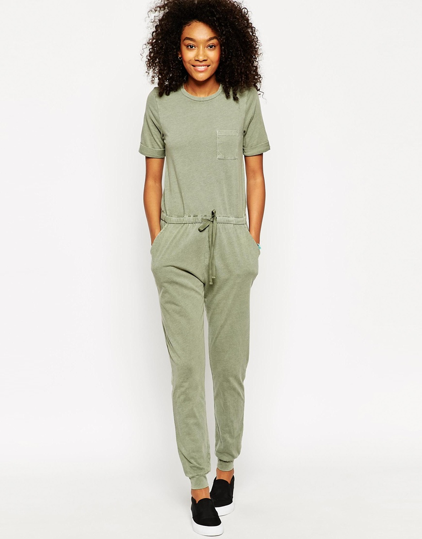 8e6747d0f8f ASOS Washed Casual Jumpsuit With Drawstring in Green - Lyst
