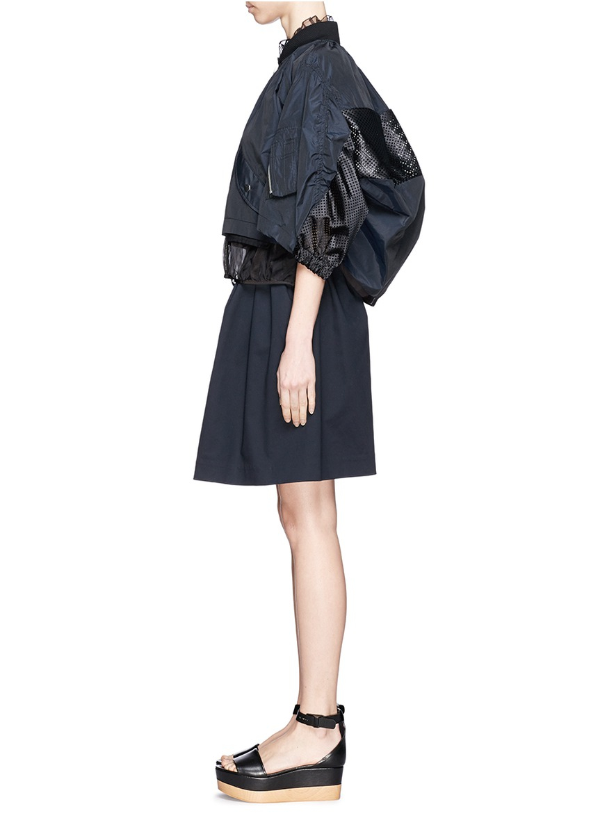 Sacai Sheer Trim Perforated Panel Bomber Jacket In Blue Lyst