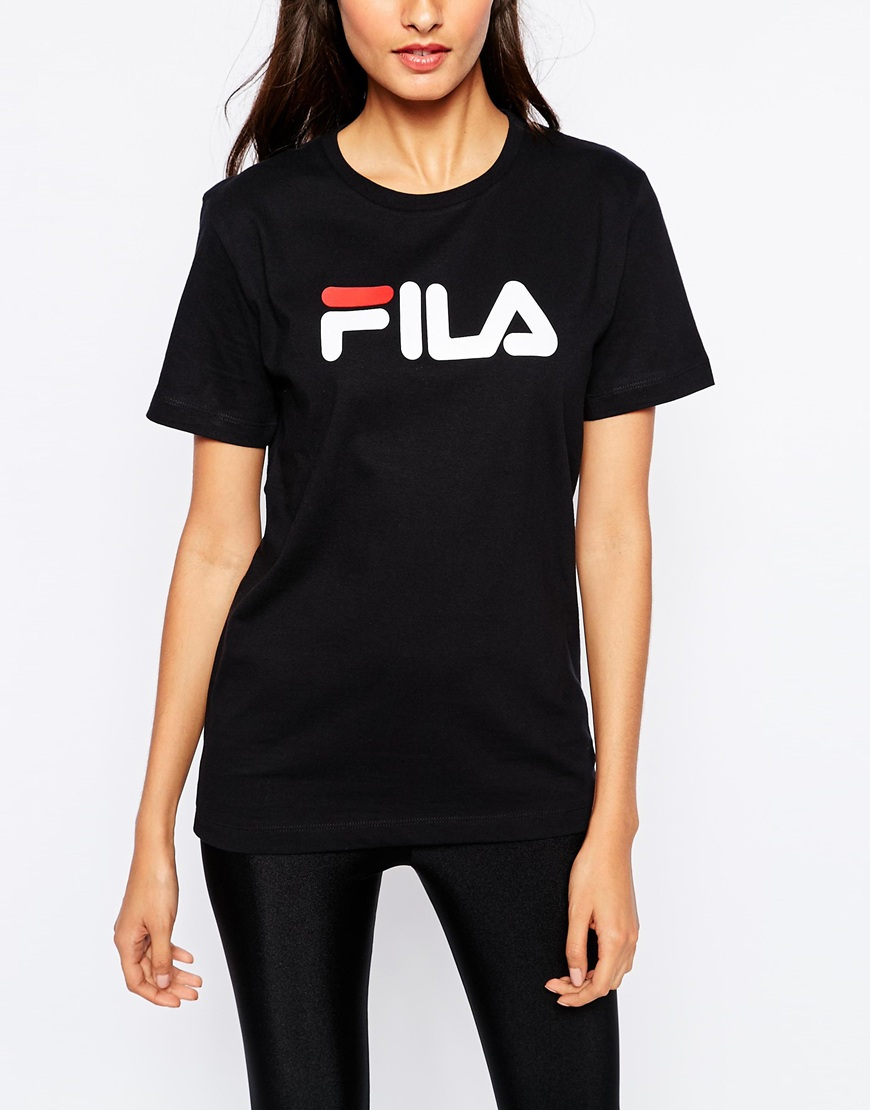 e5edc7f5 Fila Oversized Boyfriend T-shirt With Front Logo in Black - Lyst