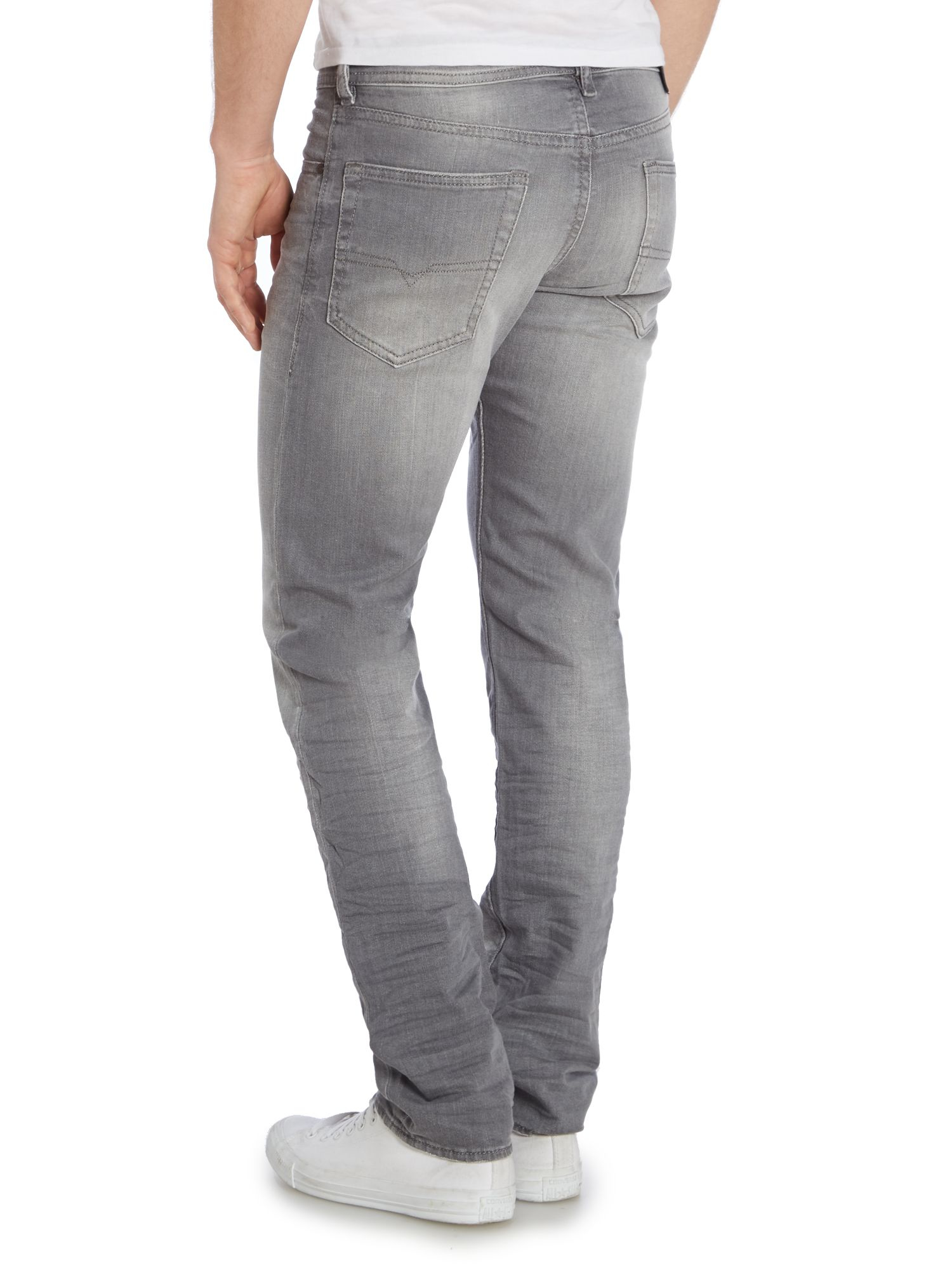 diesel buster 839n tapered fit stretch jeans in gray for. Black Bedroom Furniture Sets. Home Design Ideas
