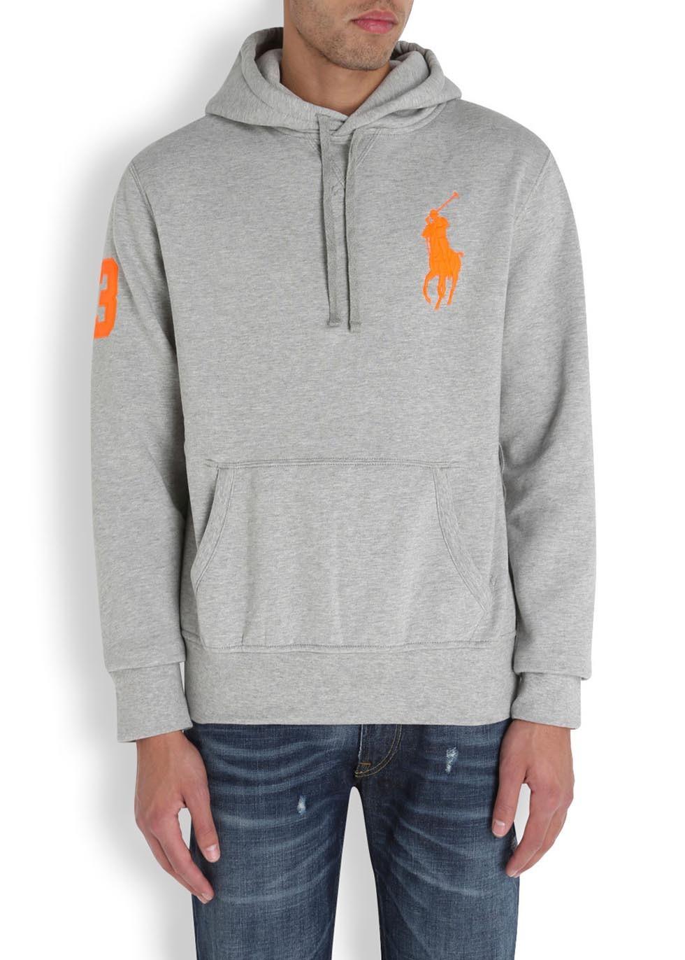 polo ralph lauren canterbury heather grey hooded sweatshirt; lyst polo ralph  lauren hooded jersey sweatshirt in orange for men