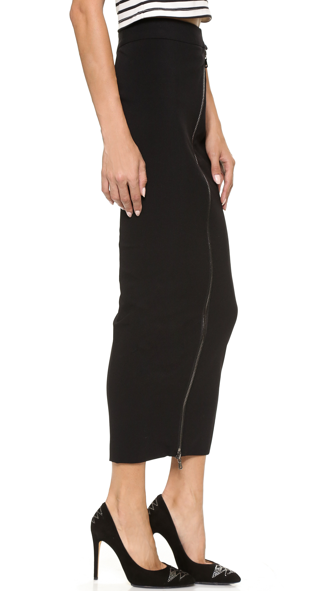 Balmain Zip Pencil Maxi Skirt Black in Black | Lyst