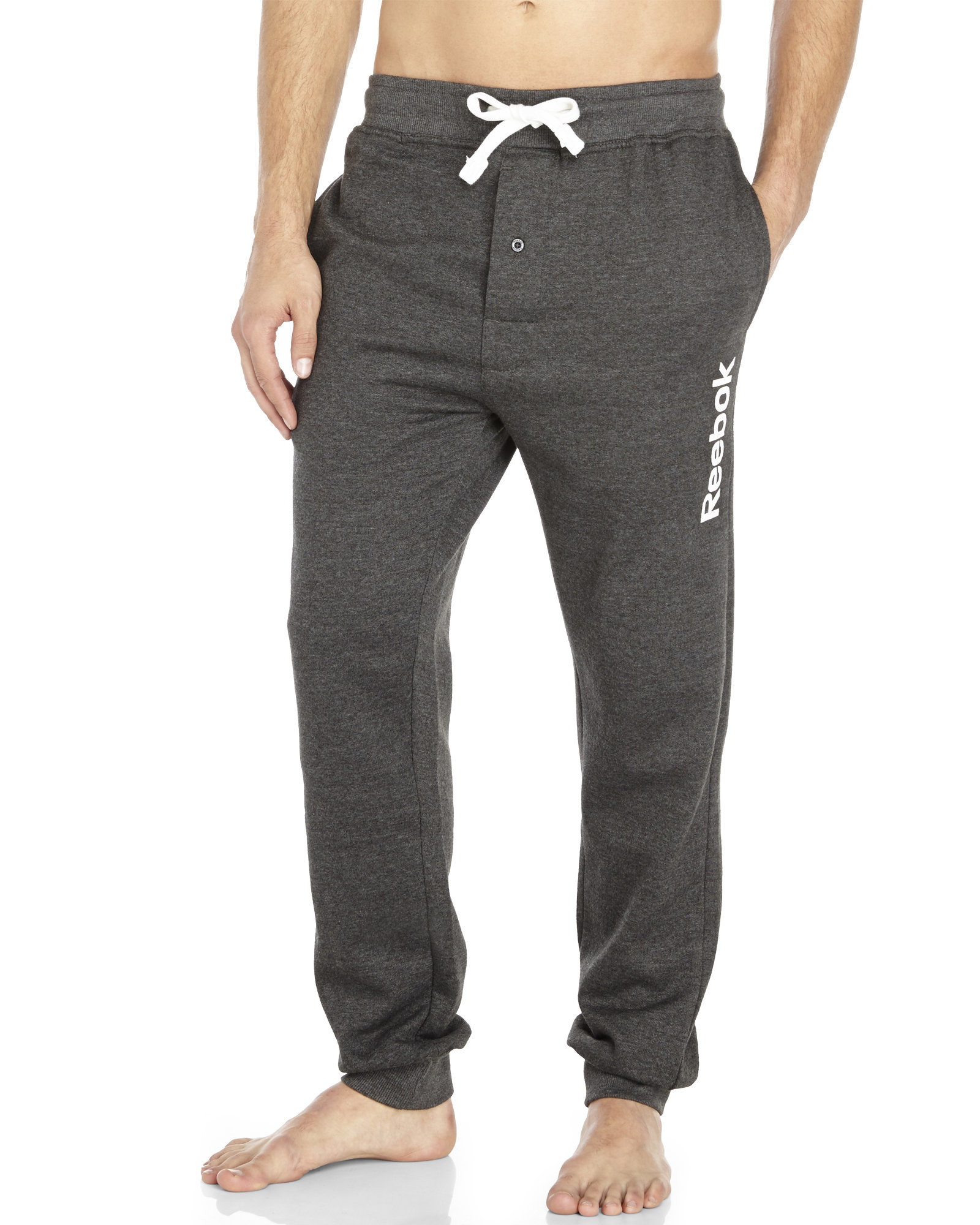 Lyst Reebok Knit Drawstring Lounge Pants In Gray For Men
