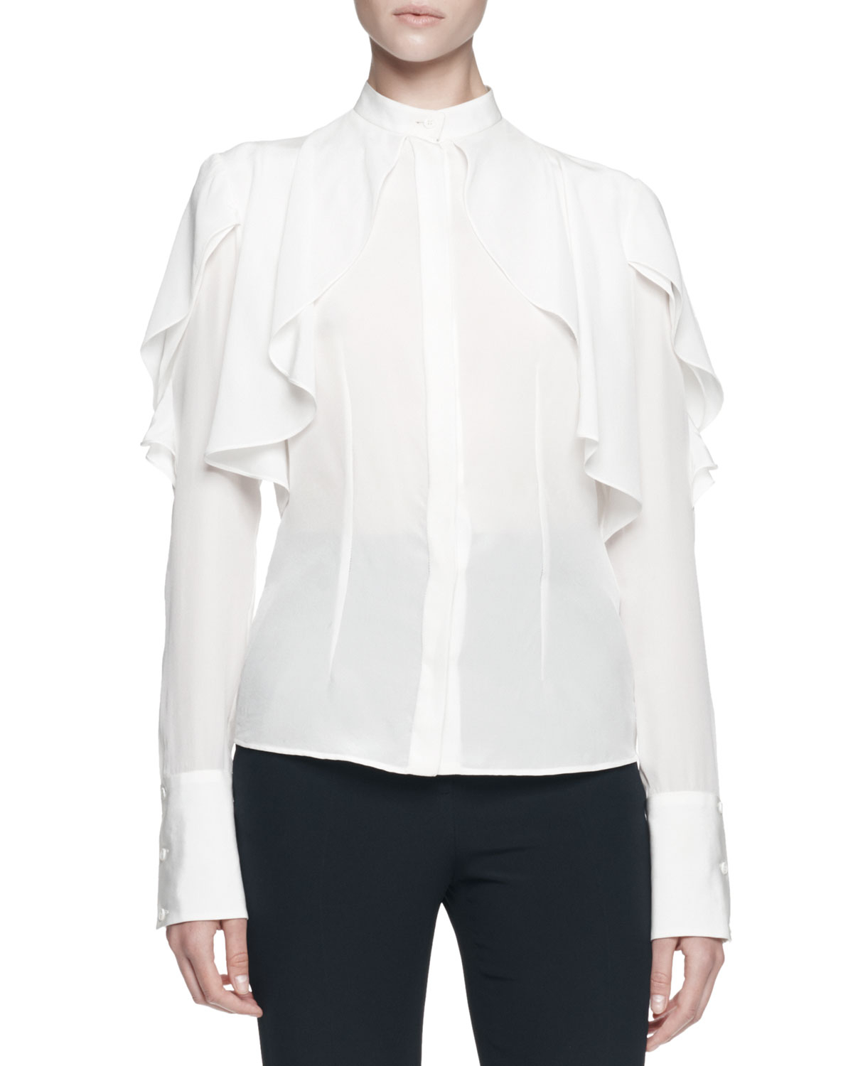 Alexander mcqueen Long-sleeve Draped Ruffle Blouse in White | Lyst