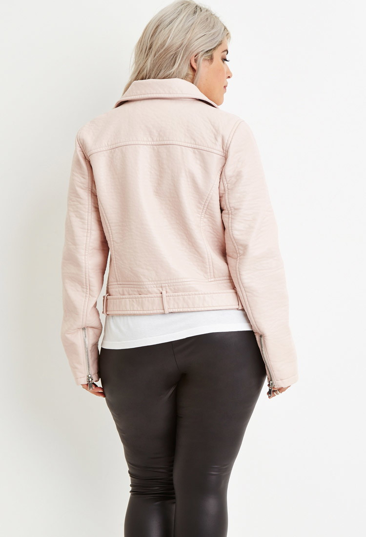 0f17338fa4993 Lyst - Forever 21 Plus Size Faux Leather Moto Jacket in Pink