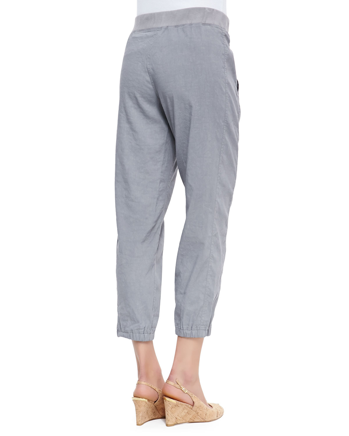 Eileen fisher Cargo Linen-Blend Ankle Pants in Gray | Lyst