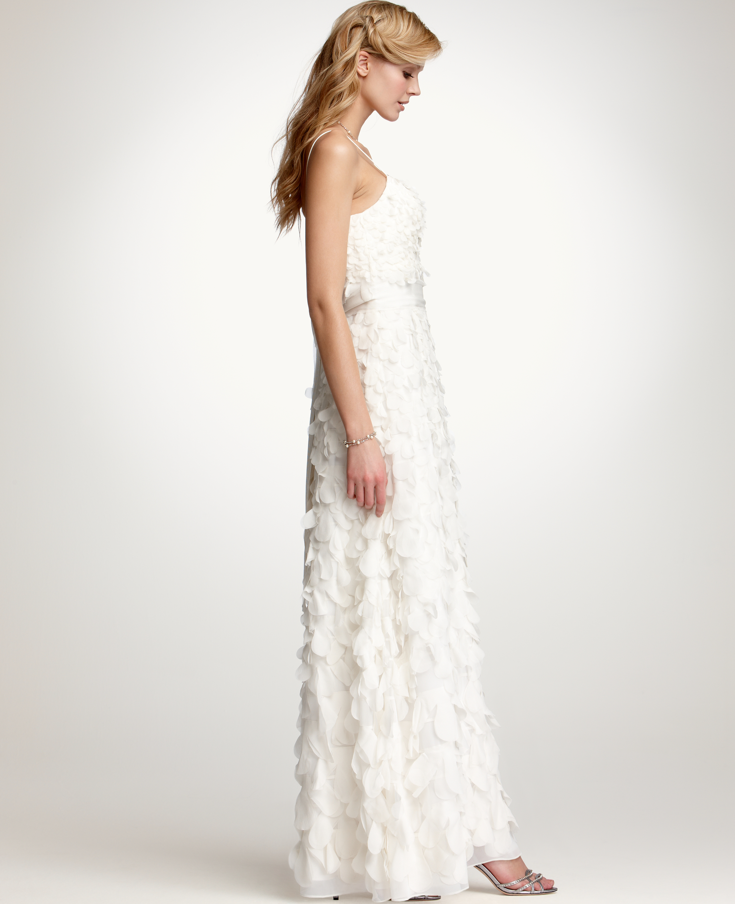 Lyst ann taylor rose petal spaghetti strap wedding dress in white gallery junglespirit Images