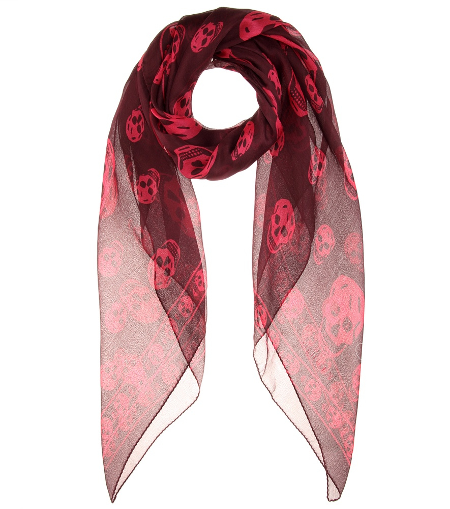 mcqueen printed silk scarf in lyst