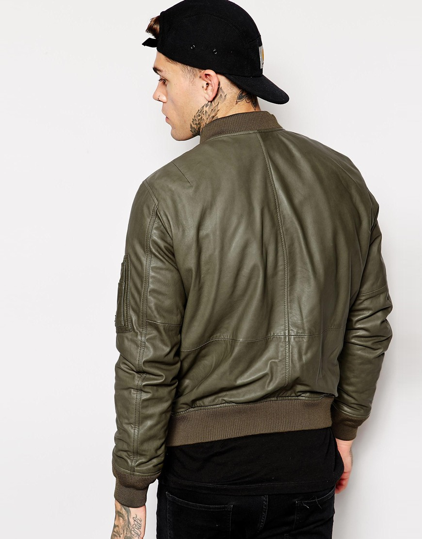 Diesel L-devra Leather Bomber Jacket in Green for Men | Lyst