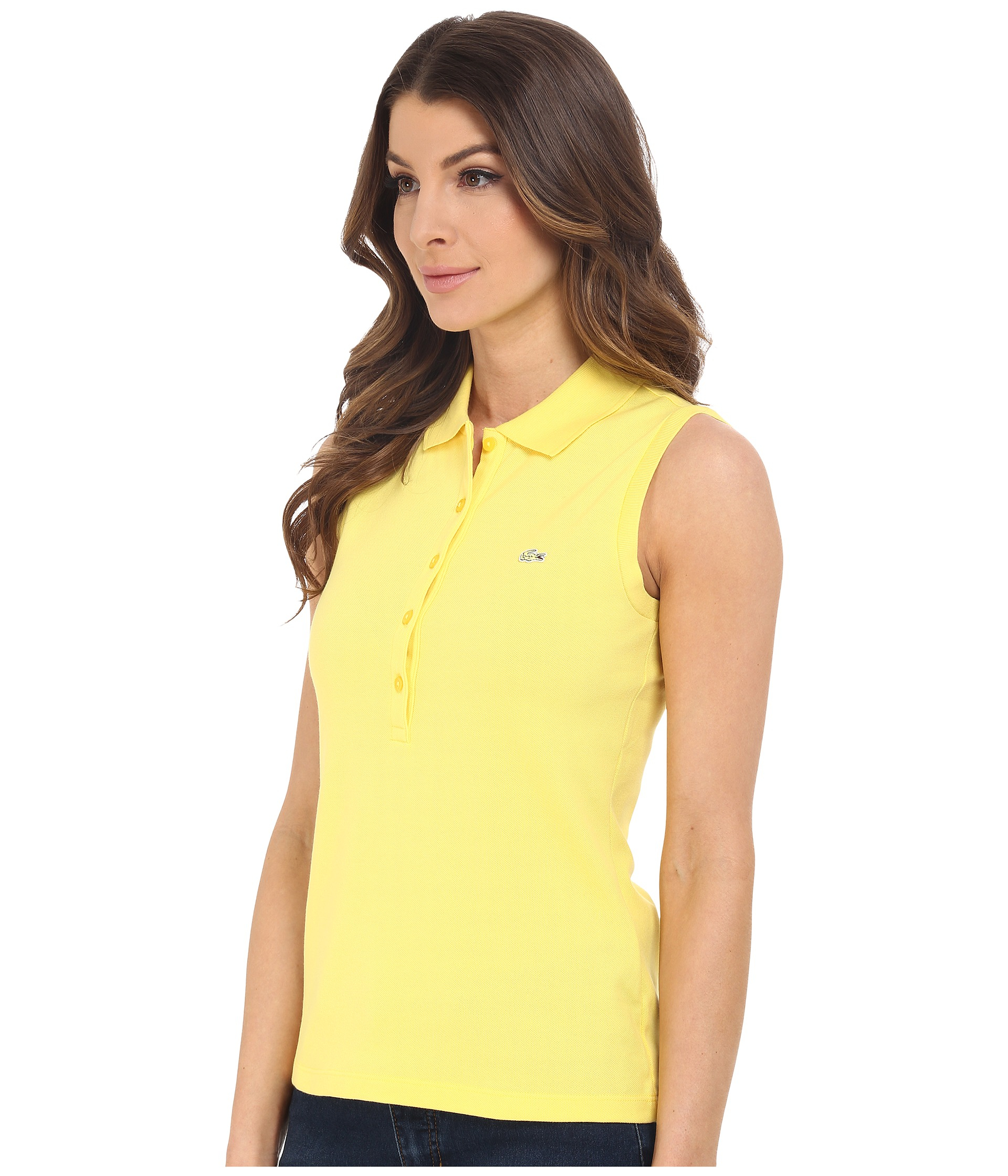 e1c12f6cbd3030 Lyst - Lacoste Sleeveless Slim Fit Stretch Pique Polo Shirt in Yellow