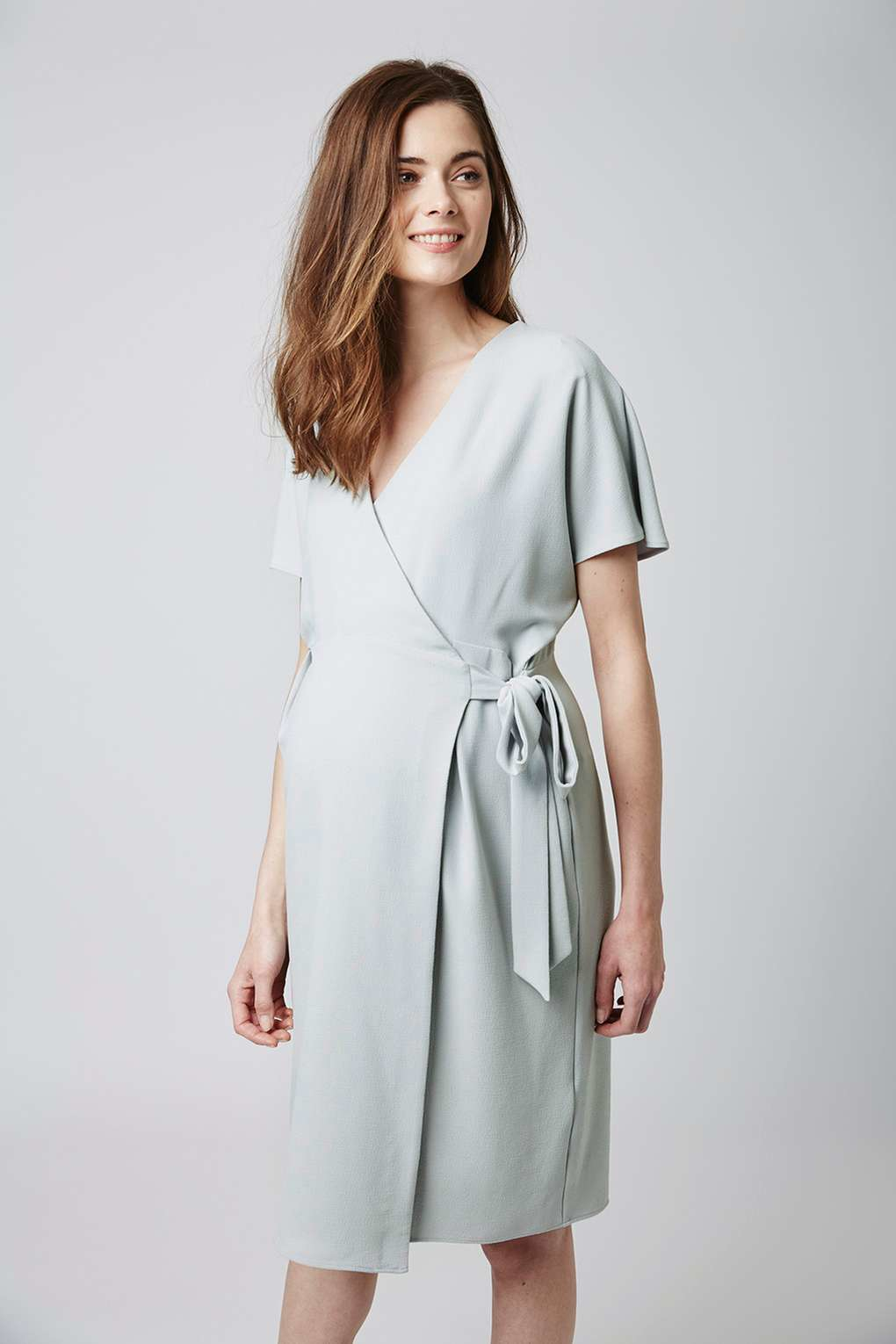 Topshop maternity wrap midi dress in gray lyst gallery womens wrap dresses ombrellifo Gallery